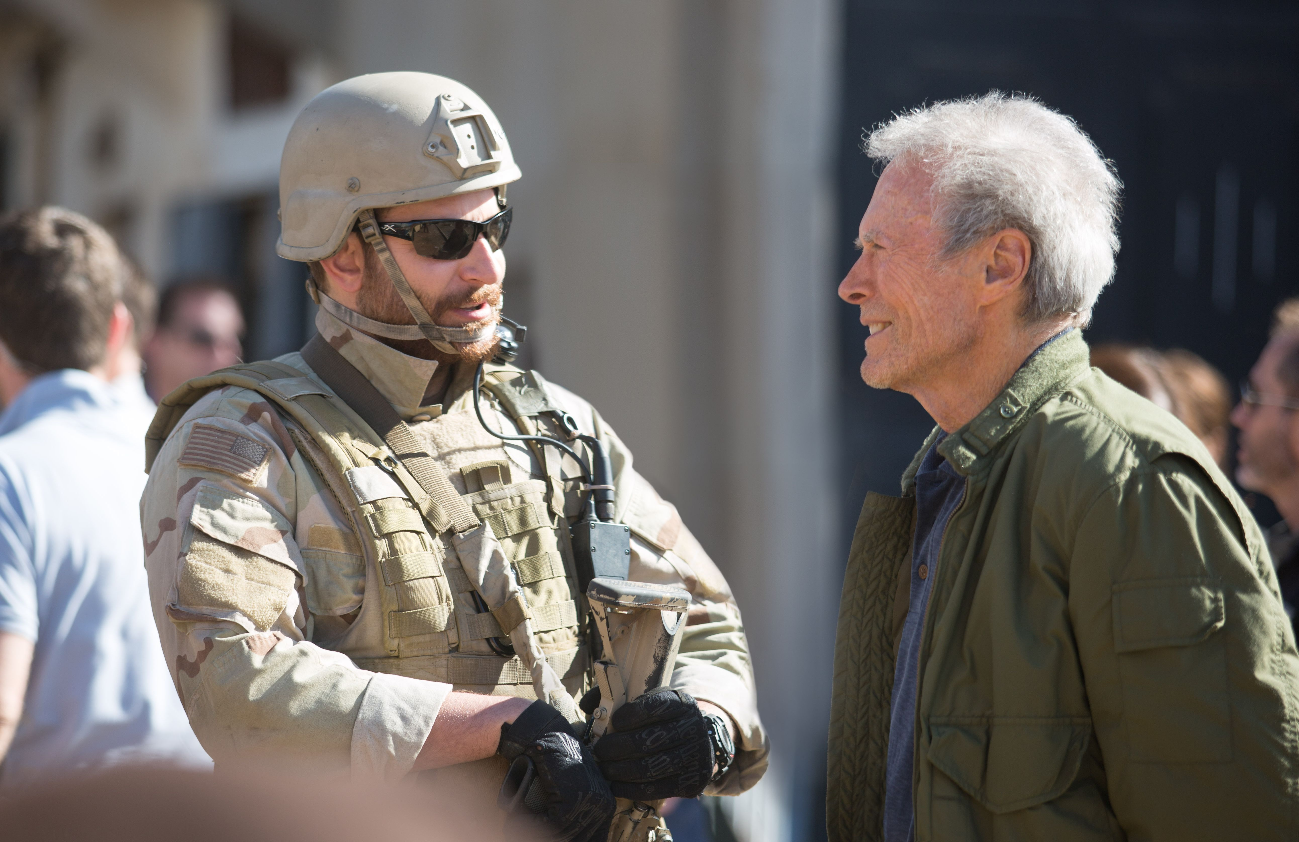 Bradley Cooper and Clint Eastwood have a chat on the set ... Bradley Cooper