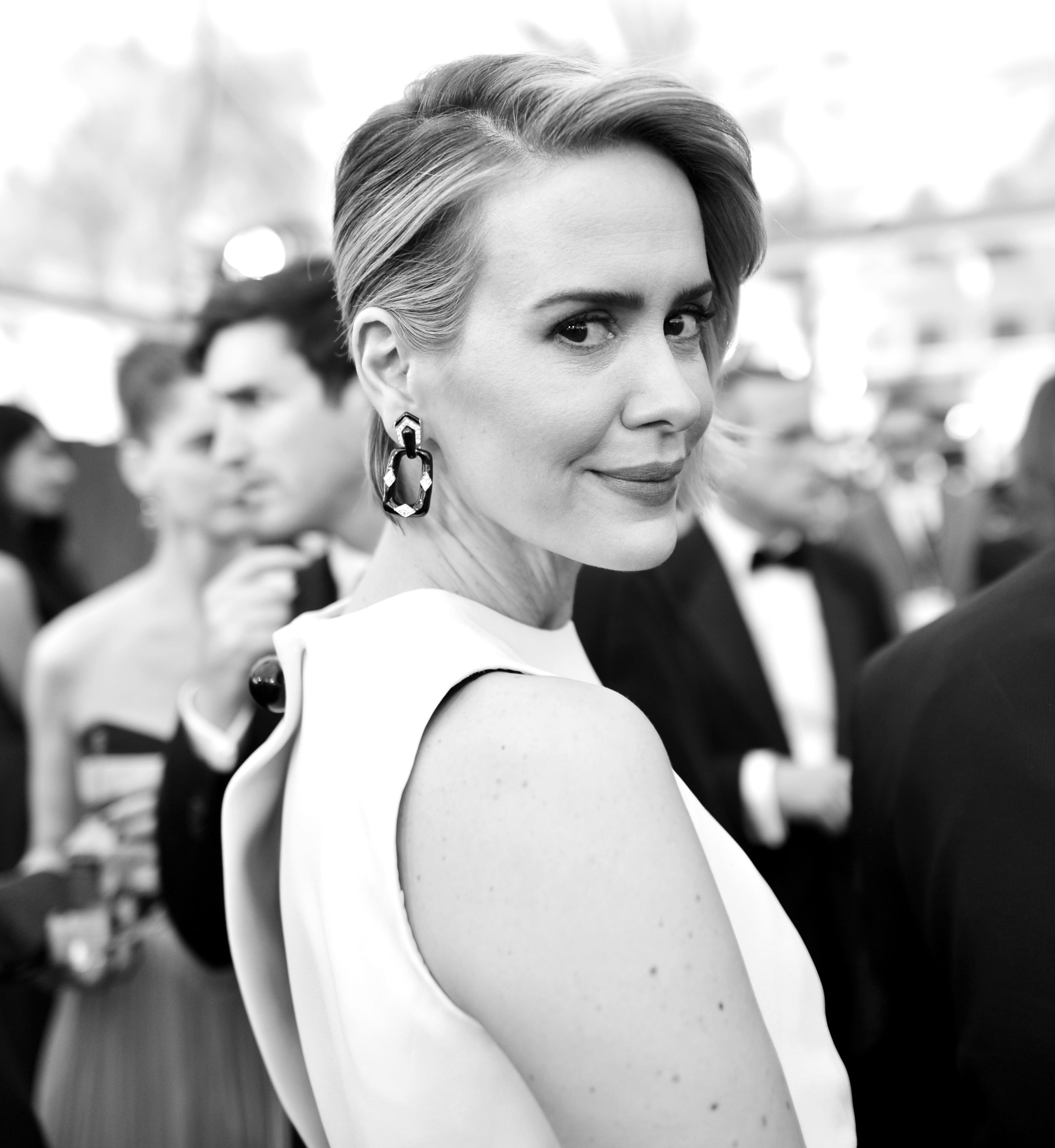 Sarah Paulson in black-and-white on SAG red carpet
