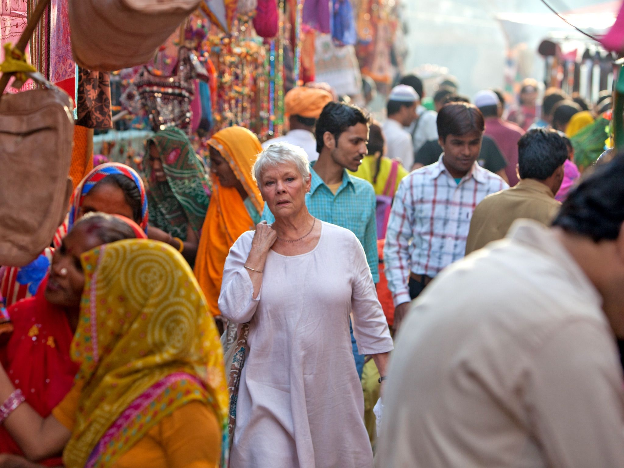 Judi Dench in an Indian Marketplace