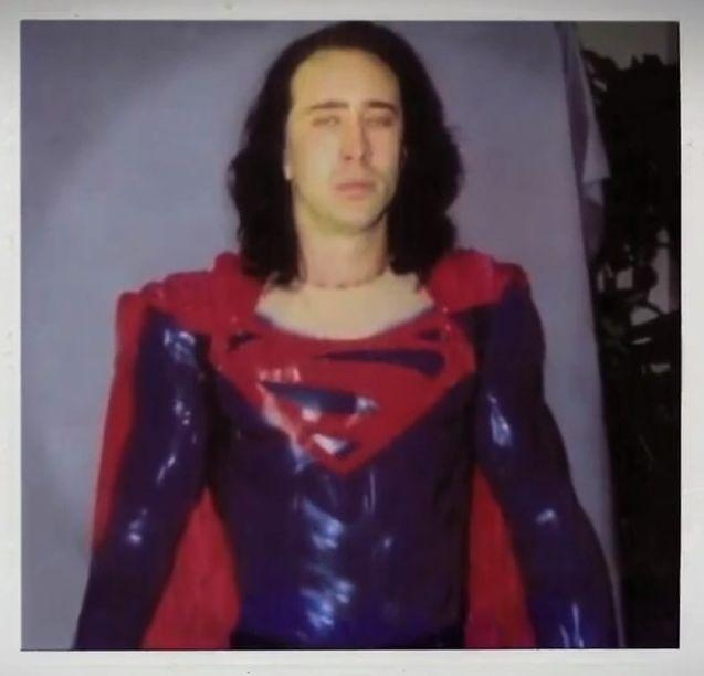 Nicolas Cage as Superman with cape