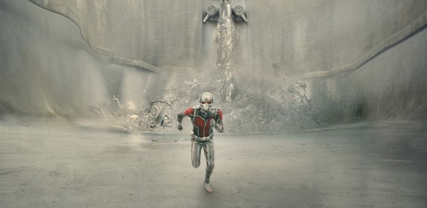 Ant-Man chased by water in kitchen sink