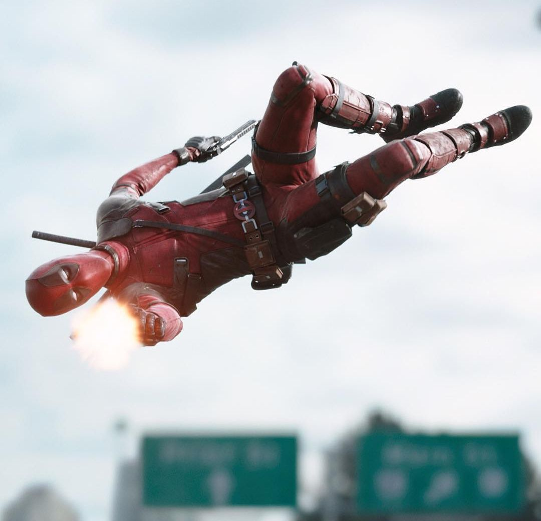Deadpool Flies Around Shooting