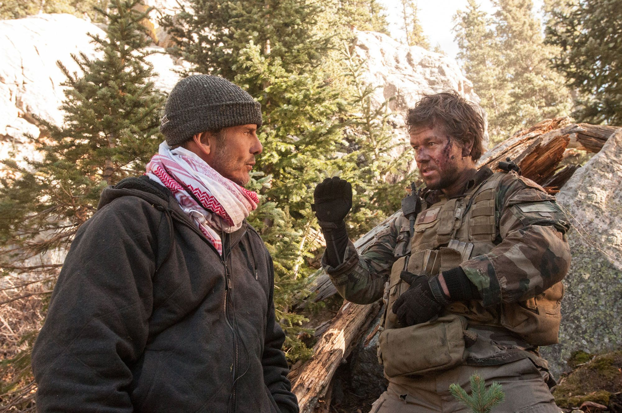 Director Peter Berg and Mark Wahlberg on 'Lone Survivor' set