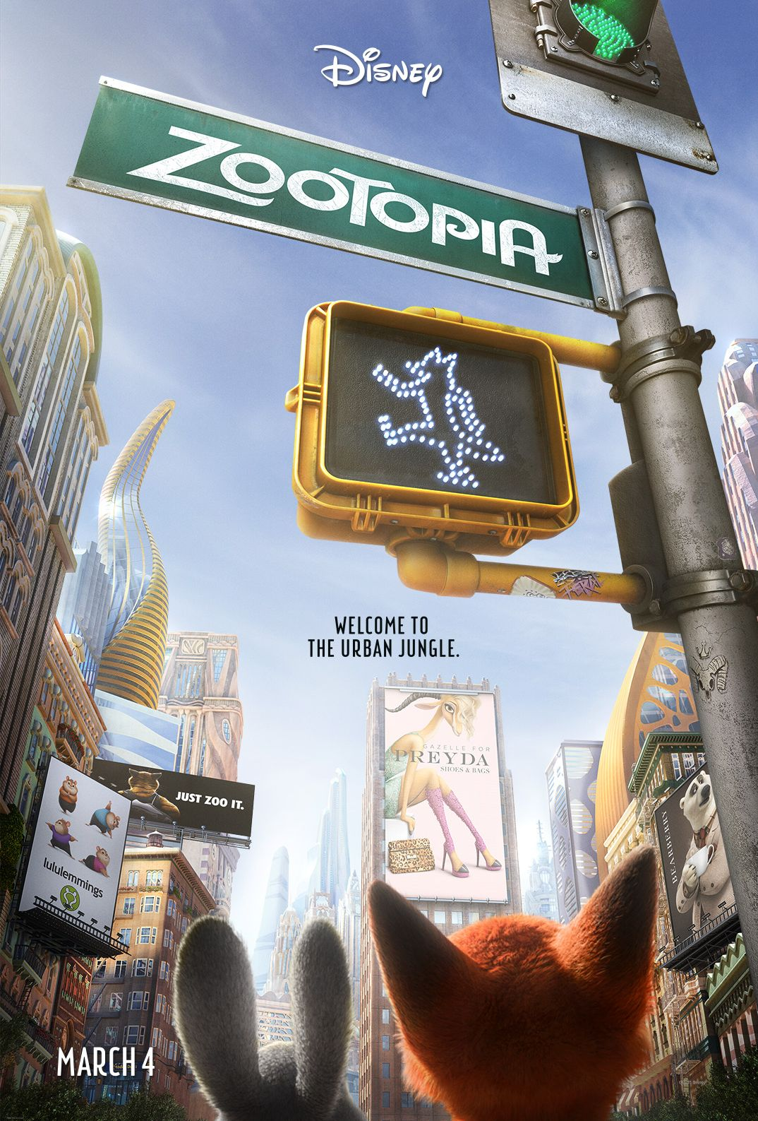 The new poster for Disney's 'Zootopia' coming to theaters Ma