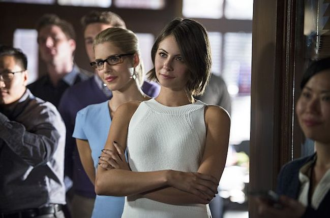 Felicity Smoak & Thea Queen at Oliver's mayoral candidacy sp
