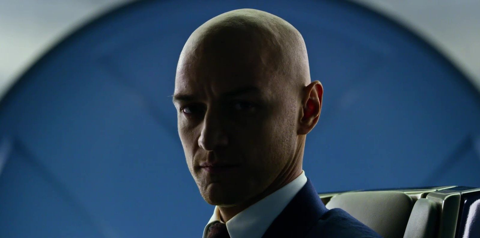 James McAvoy bald Xavier close-up