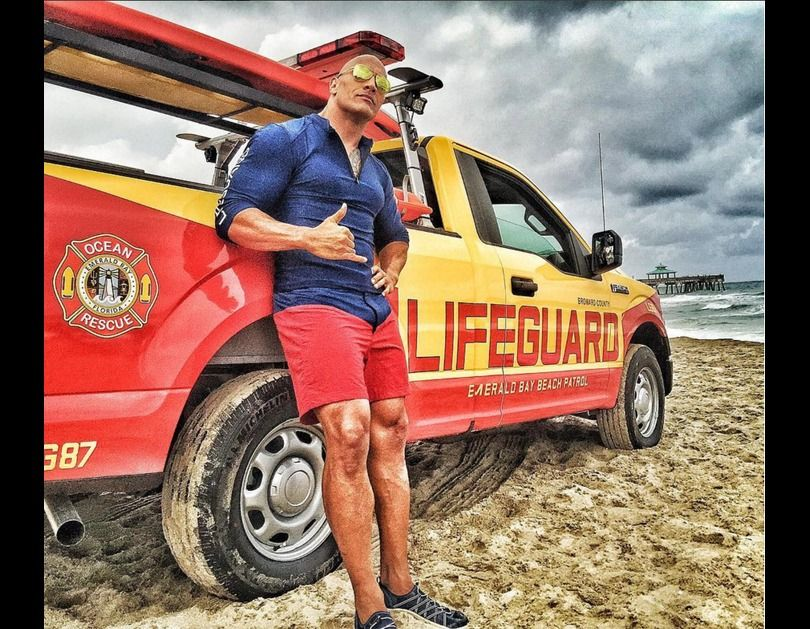 Dwayne Johnson as Mitch Buchannon set photo