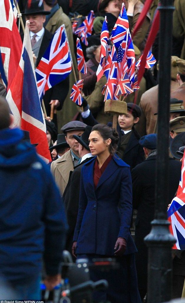 Wonder Woman set photos feature Gal Gadot at WWI Rally