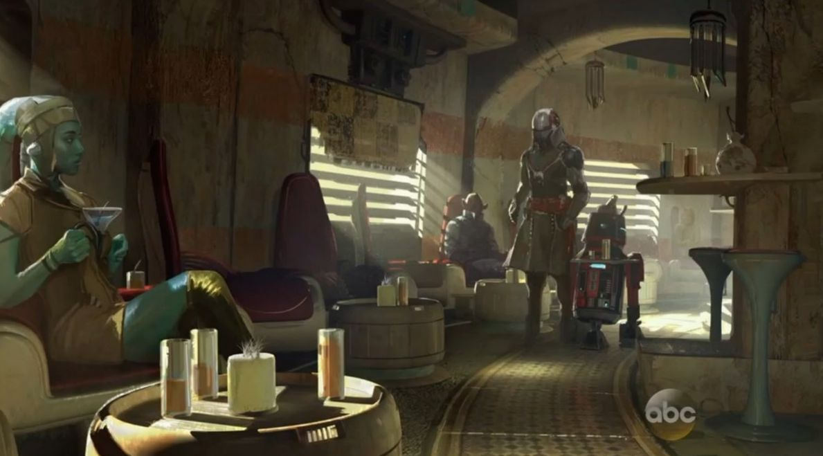 Interact with the locals at the cantina. Droids and Aliens i