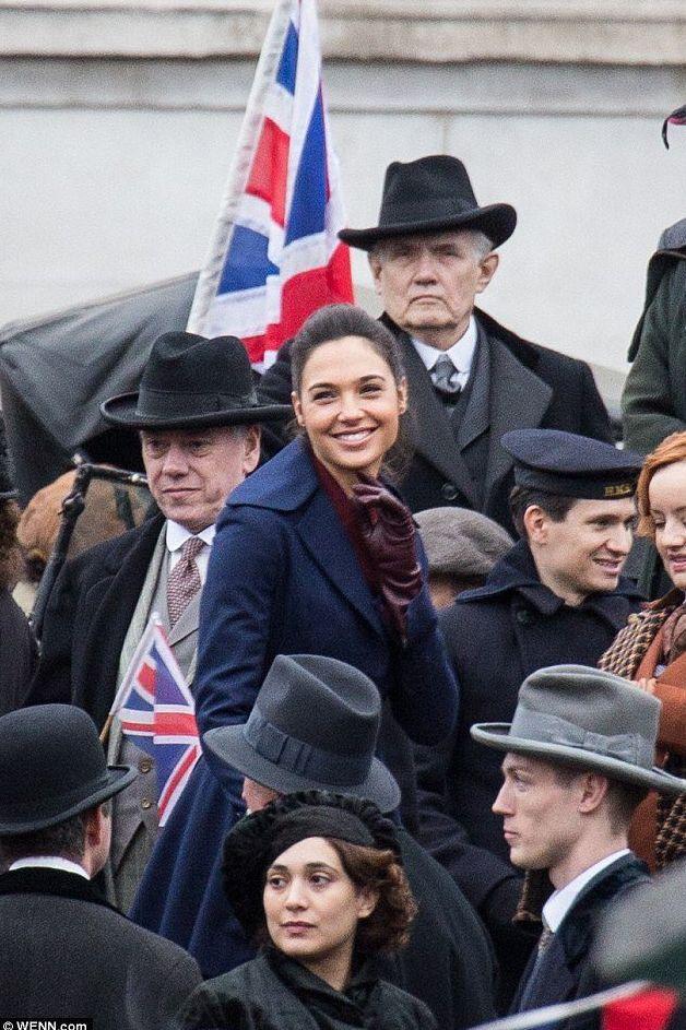 Gal Gadot smiles on the set of Wonder Woman