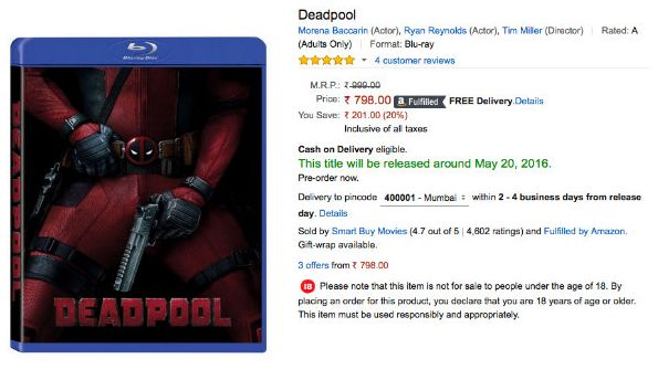 Amazon Lists Deadpool Home Video Release Date