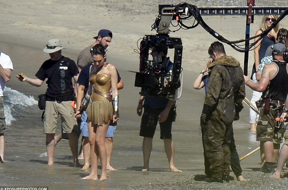 Gal Gadot and crew on set of Wonder Woman