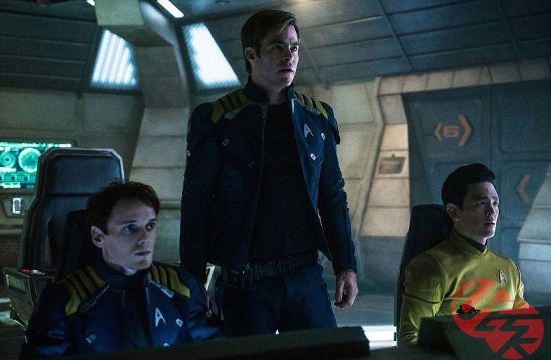 Anton Yelchin, Chris Pine and John Cho in Star Trek Beyond