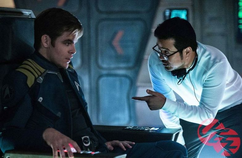 Chris Pine with director Justin Lin in Star Trek Beyond
