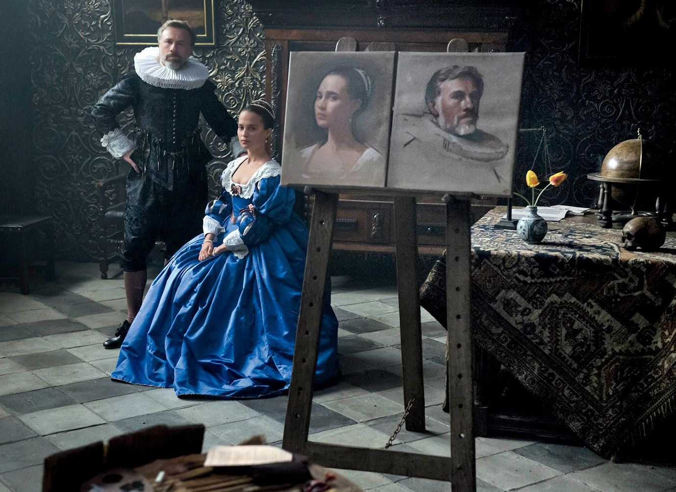 Alicia Vikander and Christoph Waltz in Tulip Fever