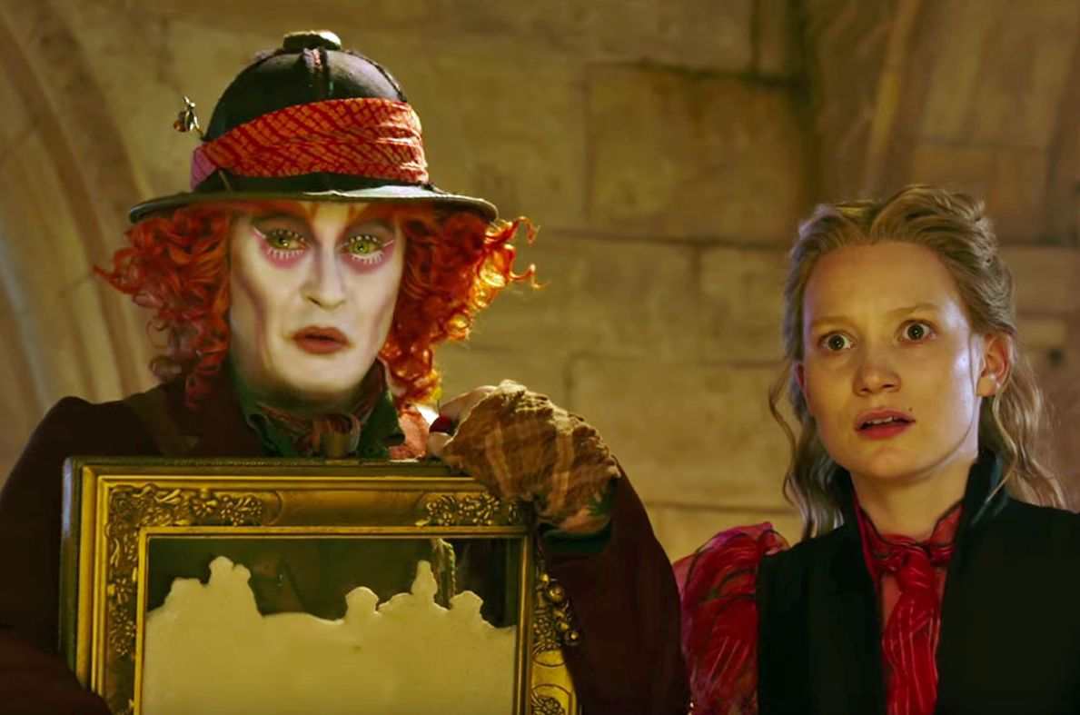 """Johnny Depp and Mia Wasikowska in """"Alice Through the Looking"""
