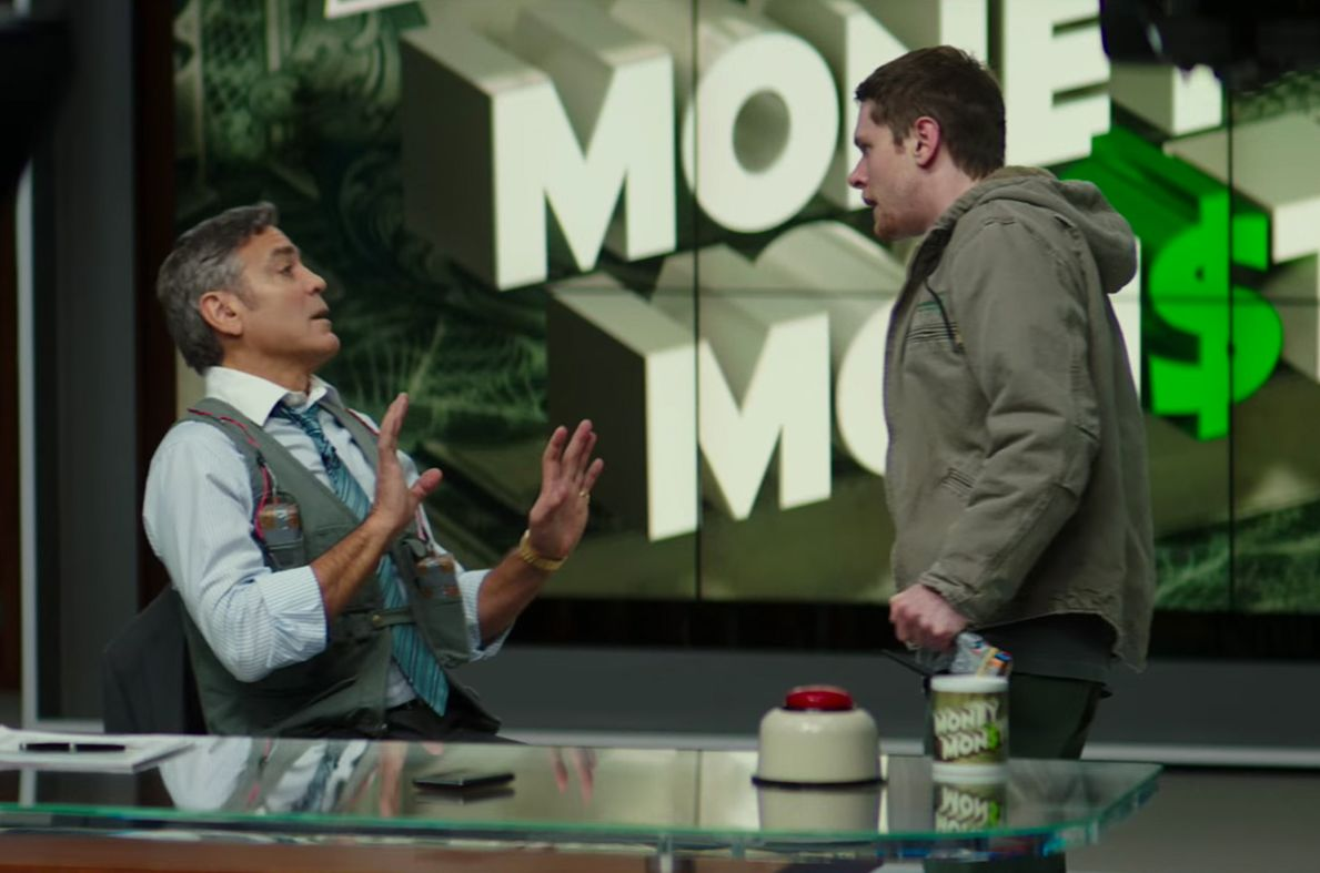 "George Clooney and Jack O'Connell in ""Money Monster""."