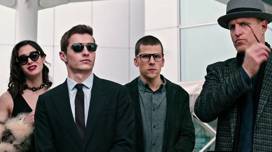 """Caplan, Franco, Eisenberg and Harrelson in """"Now You See Me 2"""