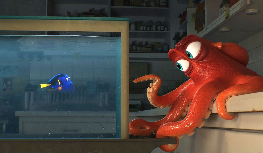 "Dory (Ellen DeGeneres) and Hank (Ed O'Neill) in ""Finding Dory"""