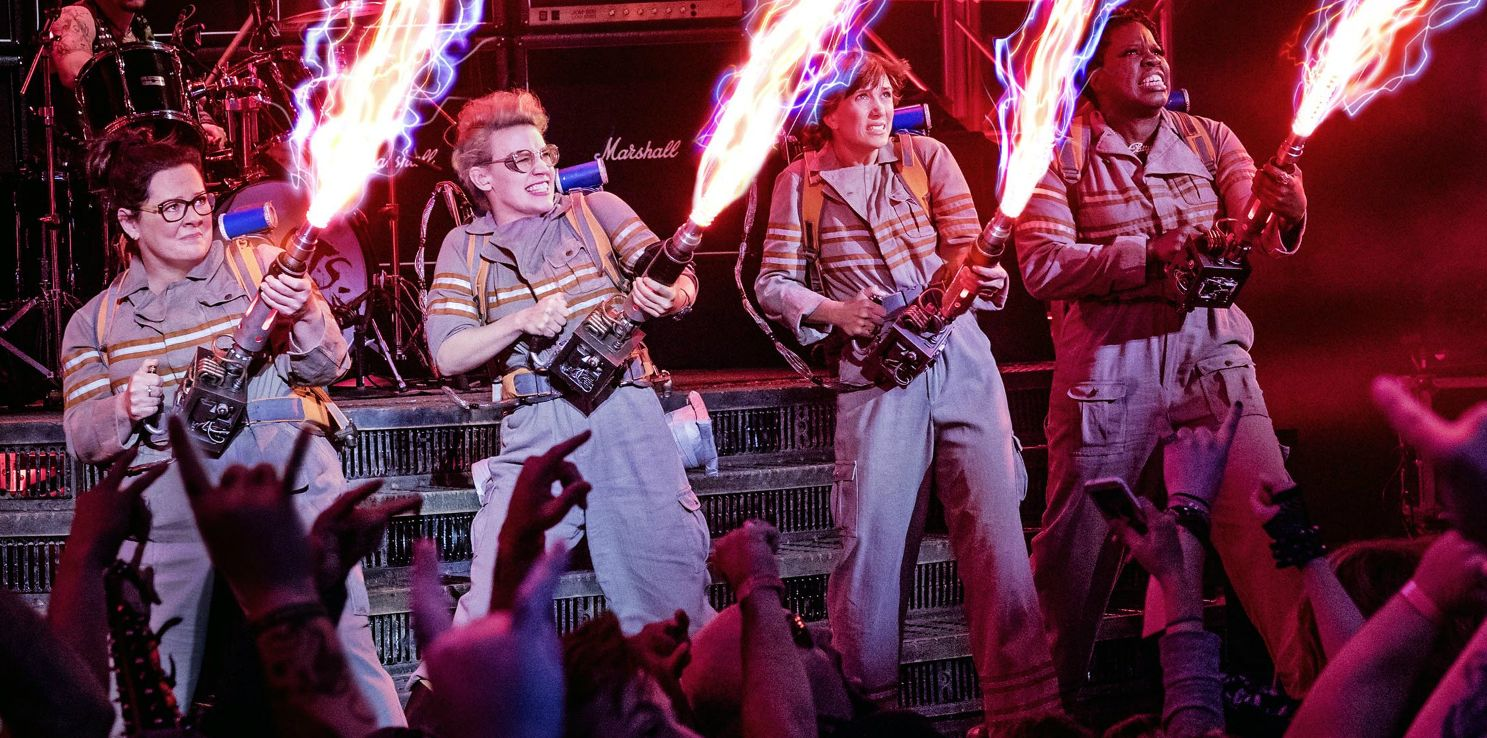 "Melissa McCarthy, Kate McKinnon, Kristen Wiig, and Leslie Jones in ""Ghostbusters"""