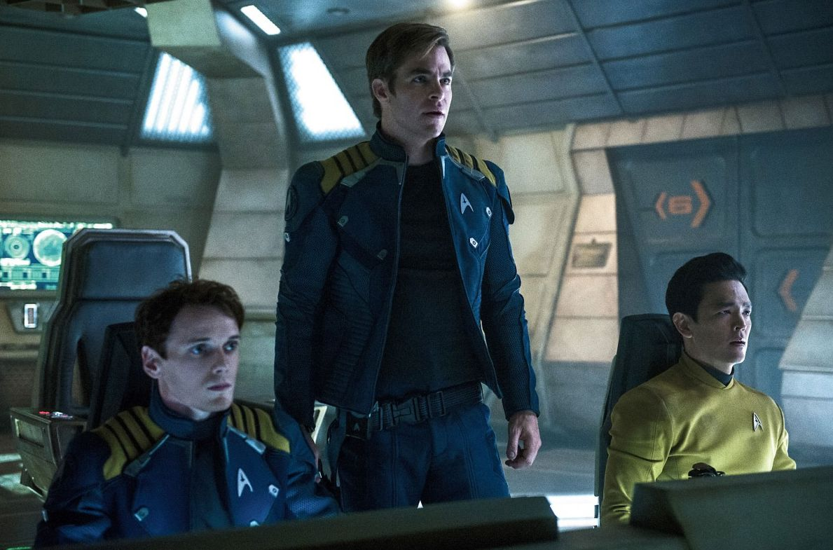"Anton Yelchin, Chris Pine and John Cho in ""Star Trek Beyond"""
