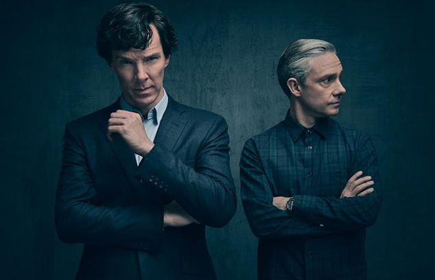 Benedict Cumberbatch and Martin Freeman in the first photo o