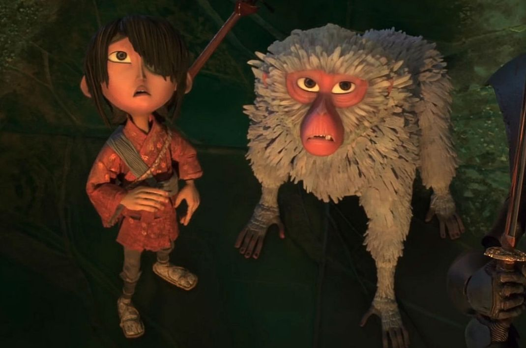 """Kubo (Art Parkinson) and Monkey (Charlize Theron) in """"Kubo and the Two Strings"""""""
