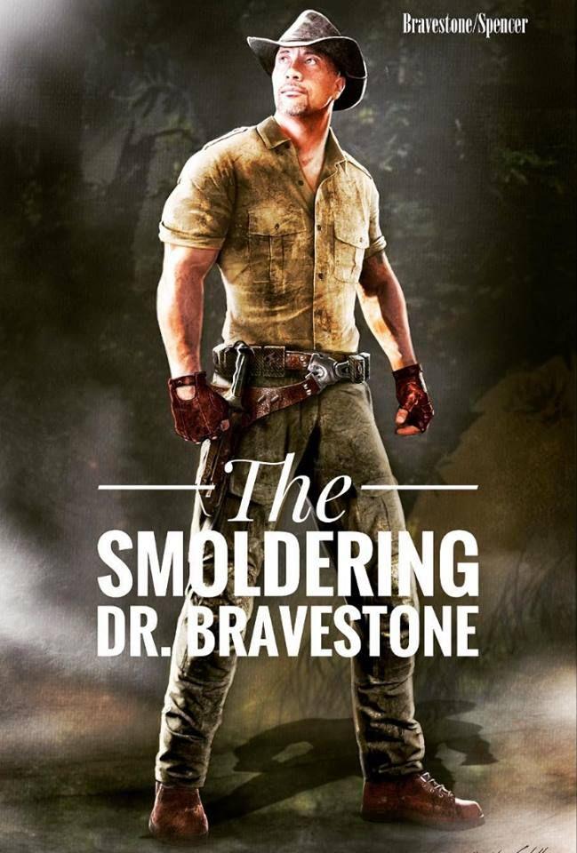 Concept art of Dwayne Johnson as Dr. Bravestone in the Juman