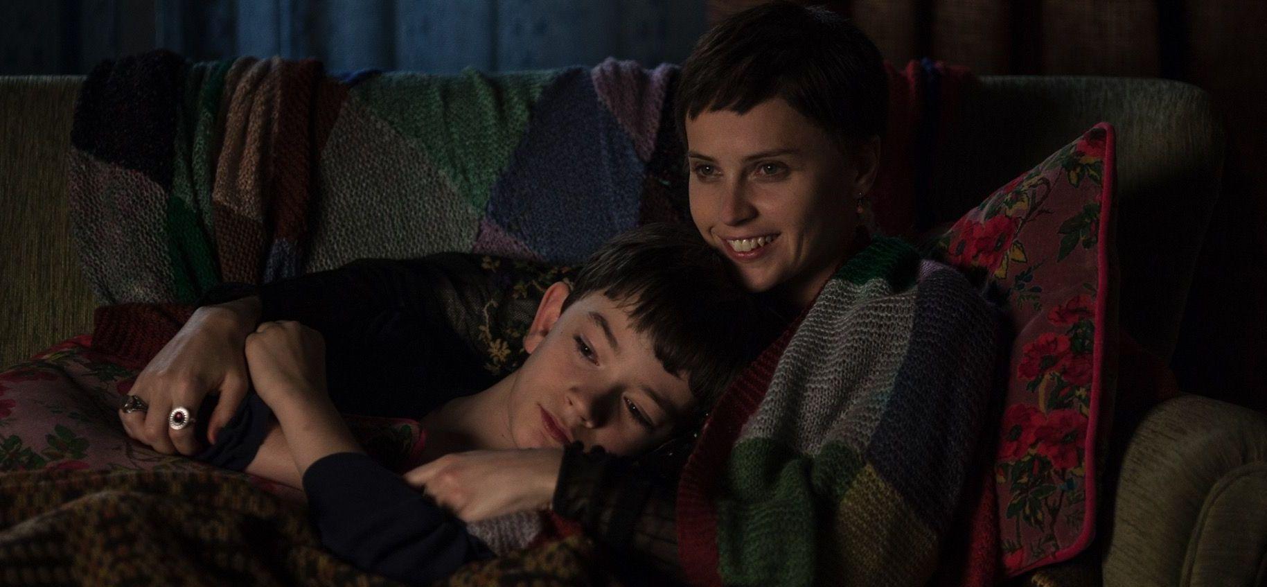 Lewis MacDougall and Felicity Jones