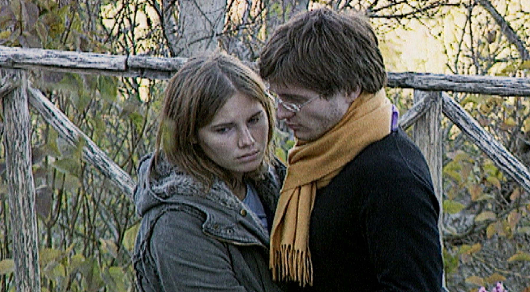Amanda Knox with her lover after the murder