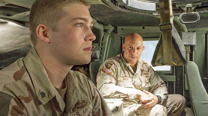 """Joe Alwyn and Vin Diesel in """"Billy Lynn's Long Halftime Walk"""""""