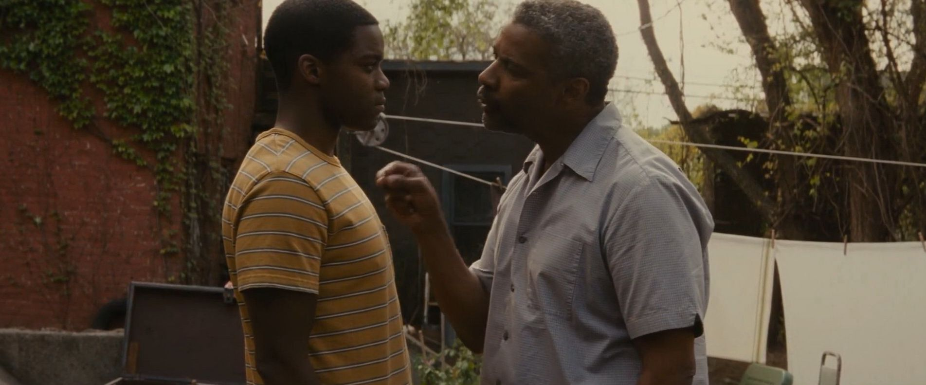 "Jovan Adepo and Denzel Washington in ""Fences"""