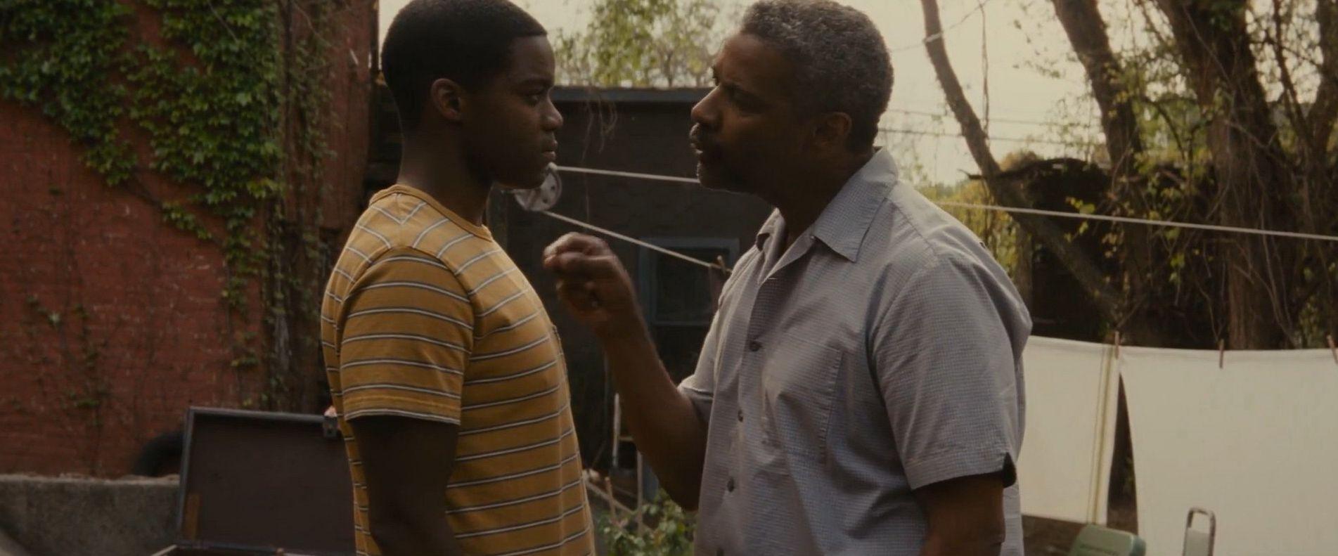"Jovan Adepo and Denzel Washington in ""Fences"""