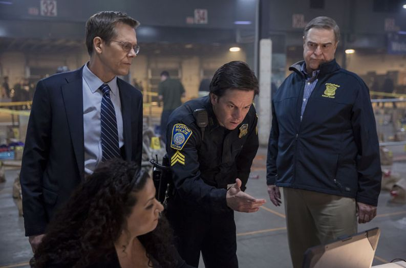 "Kevin Bacon, Mark Wahlberg and John Goodman in ""Patriots Day"""