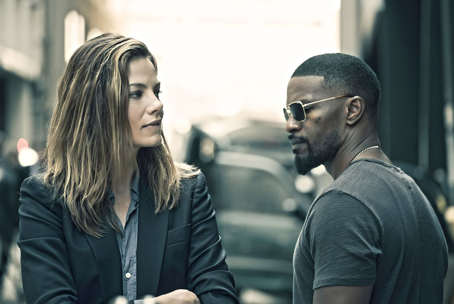 "Michelle Monaghan and Jamie Foxx in ""Sleepless"""