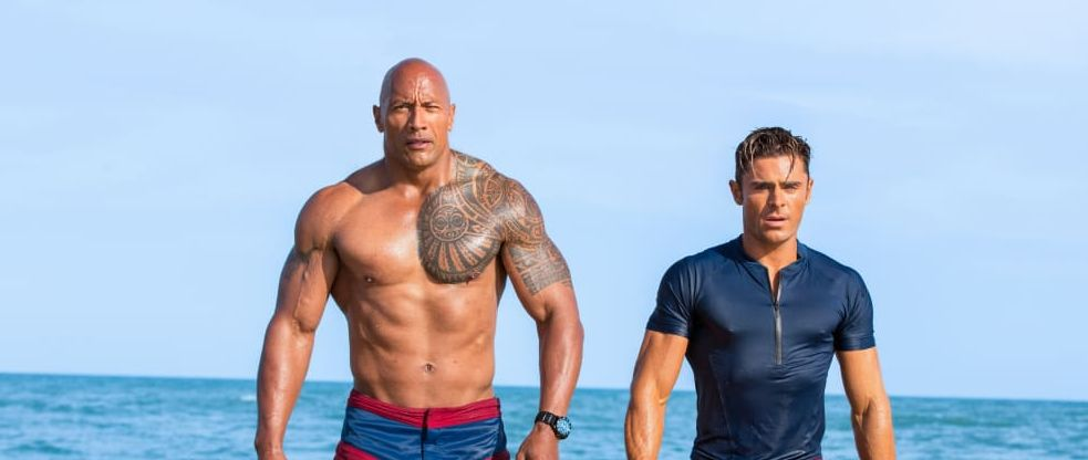 "Dwayne Johnson and Zac Efron in ""Baywatch"""