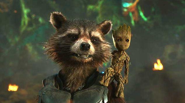"""Rocket (Bradley Cooper), Baby Groot (Vin Diesel) in """"Guardians of the Galaxy Vol. 2"""""""