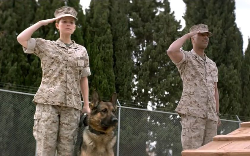 "Kate Mara, Common and ""Rex"" in ""Megan Leavey"""