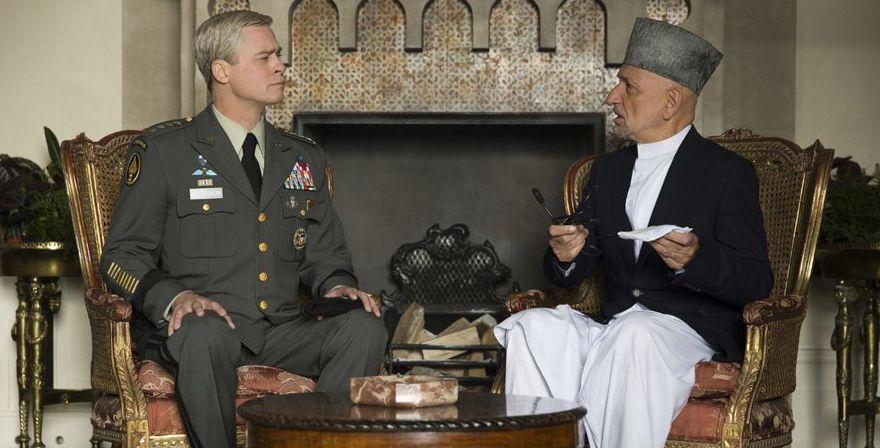 "Brad Pitt and Ben Kingsley in ""War Machine"""