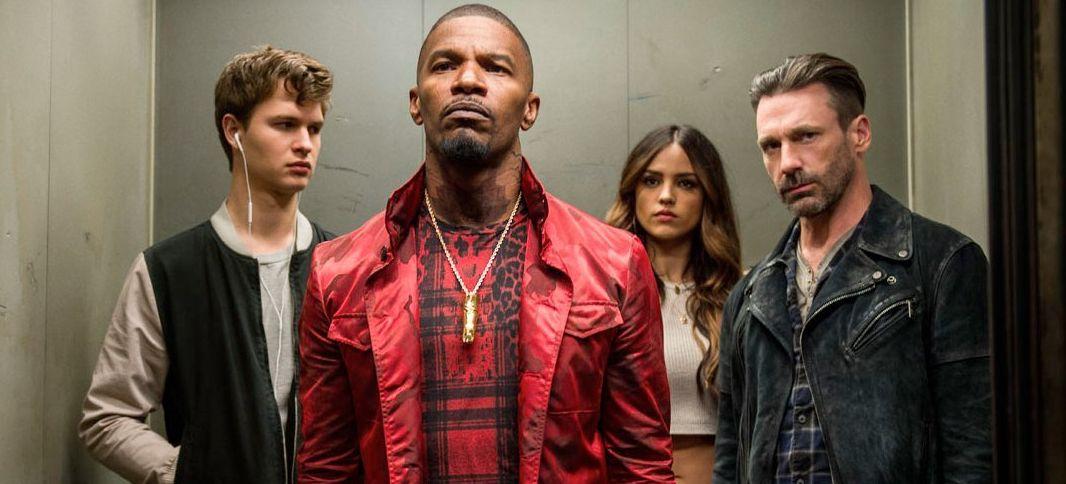 "Ansel Elgort, Jamie Foxx, Eiza Gonzalez, Jon Hamm in ""Baby Driver"""