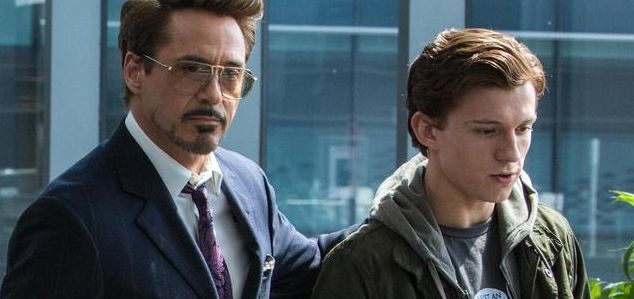 """Robert Downey, Jr. and Tom Holland in """"Spider-Man: Homecoming"""""""