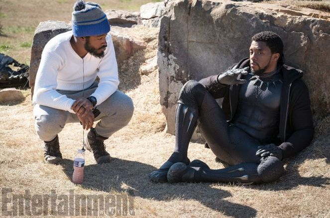 Director and co-writer Ryan Coogler (Fruitvale Station, Creed) confers with Boseman in this behind-the-scenes image.