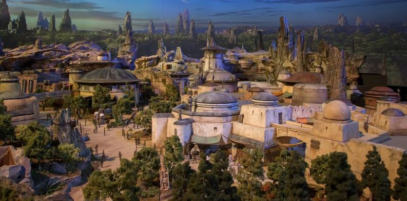 Star Wars Land model on display at D23