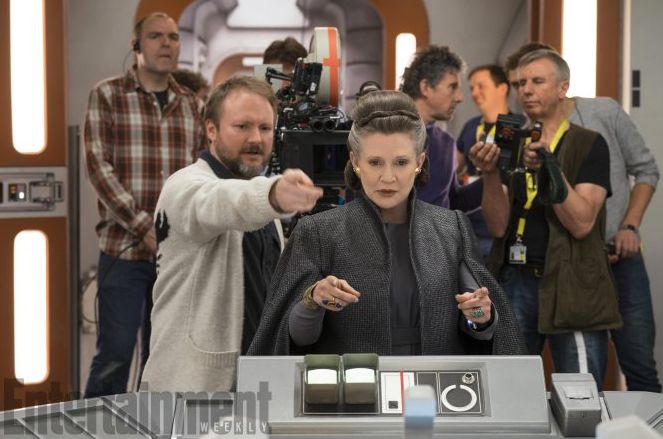 Rian Johnson directing Carrie Fisher as Leia Organa  The Las