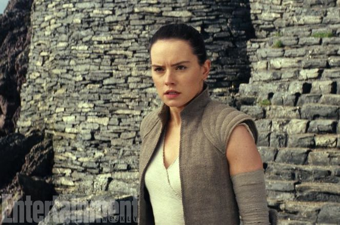 Daisy Ridley as Rey at the ruins of the first Jedi temple.