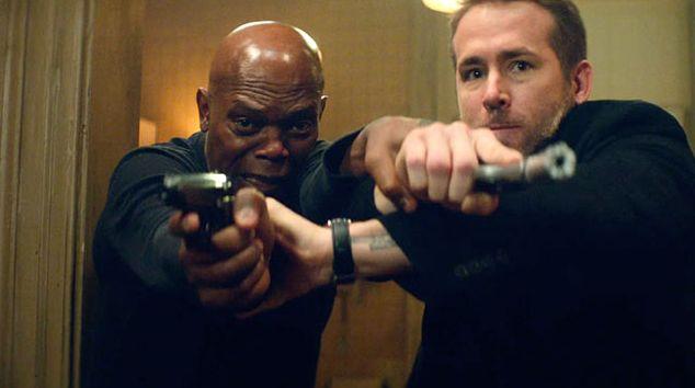 "Samuel L. Jackson and Ryan Reynolds in ""The Hitman's Bodyguard"""
