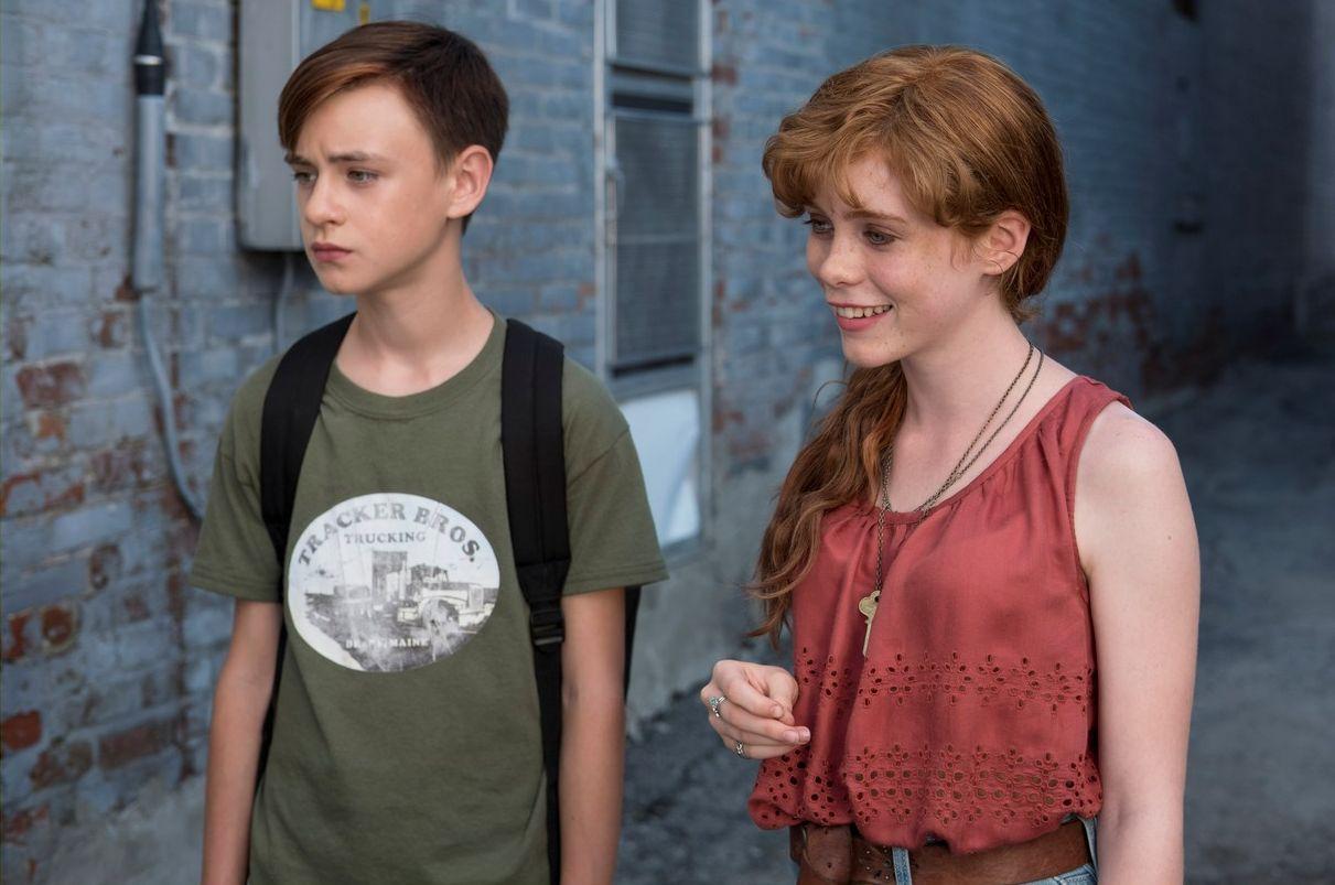 """Jaeden Lieberher and Sophia Lillis in """"It"""""""