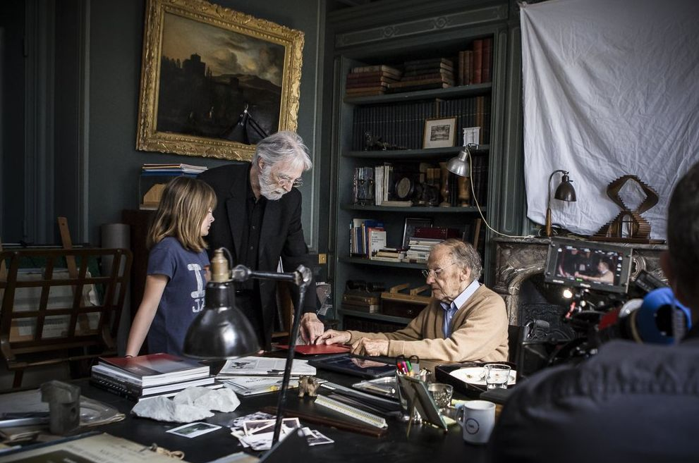 Michael Haneke directing on the set of Happy End