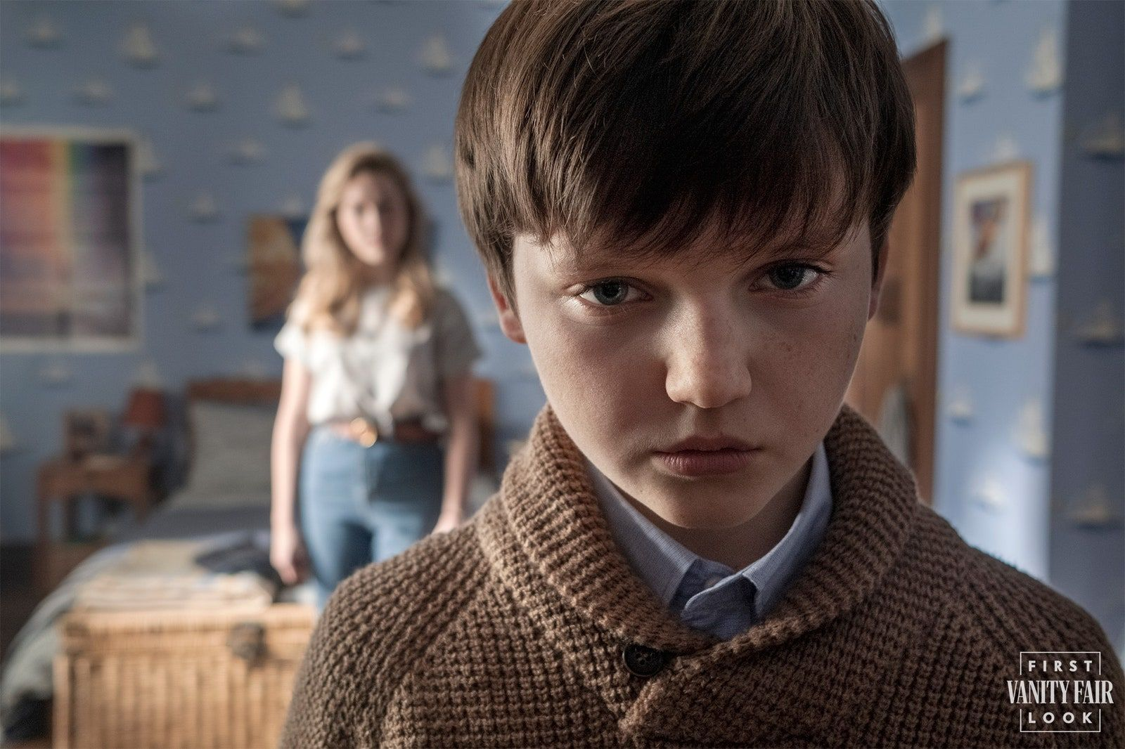 Victoria Pedretti and Benjamin Evan Ainsworth as the governess and the troubled young boy.EIKE SCHROTER/NETFLIX