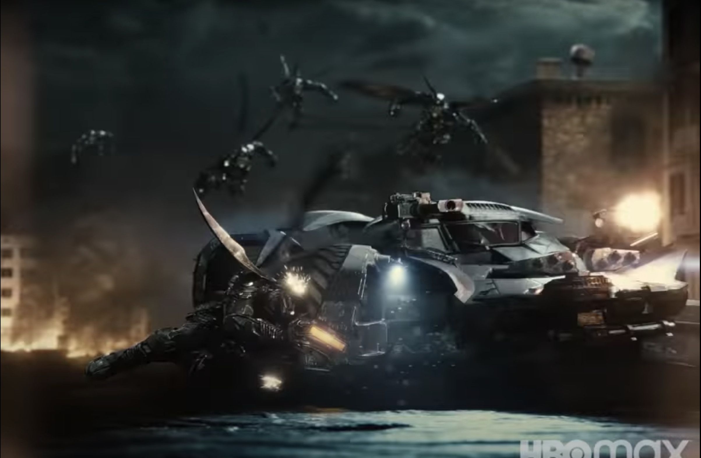 Batmobile vs Parademons